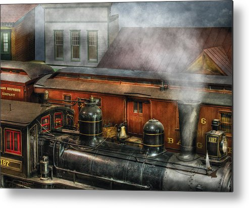 Savad Metal Print featuring the photograph Train - Yard - The Train Yard II by Mike Savad