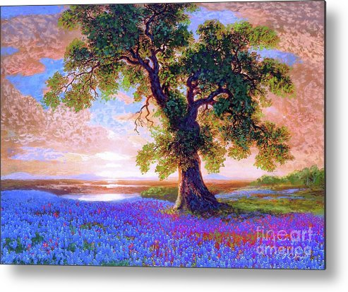 Sun Metal Print featuring the painting Bluebonnets by Jane Small