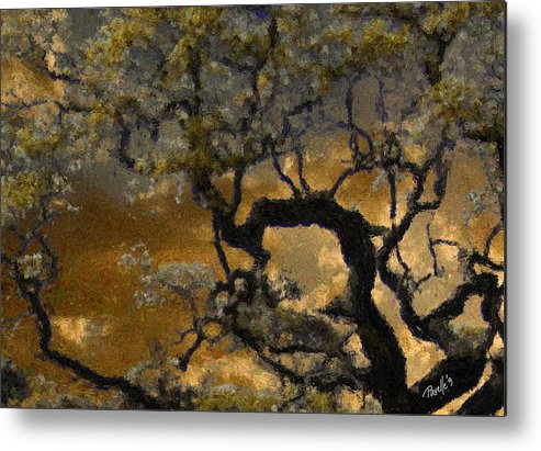 Fine Art Monterey Metal Print featuring the digital art Treetop Sunset by Jim Pavelle