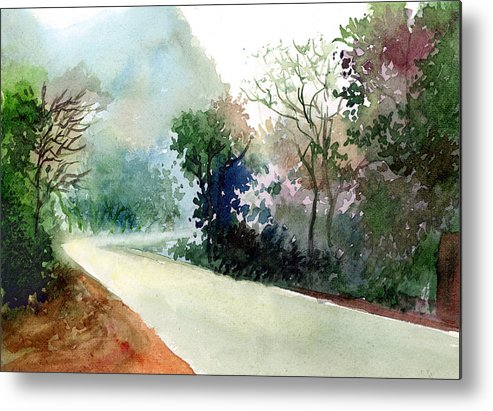 Landscape Water Color Nature Greenery Light Pathway Metal Print featuring the painting Turn Right by Anil Nene