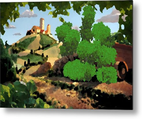 Village Old Road.trees.bushes.hill.littlt Tower.houses.farm.sky.clouds Metal Print featuring the digital art Village. Tower On The Hill by Dr Loifer Vladimir