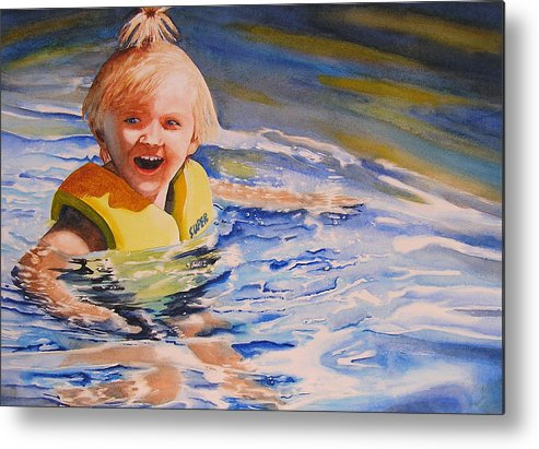 Swimming Metal Print featuring the painting Water Baby by Karen Stark