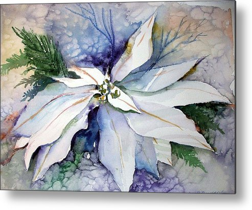 Floral Metal Print featuring the painting White Poinsettia by Mindy Newman