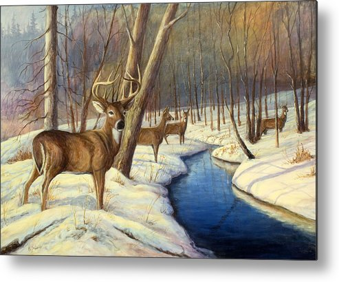 Wildlife Painting - Whitetail Deer Metal Print featuring the painting Winter Monarch by Michael Scherer