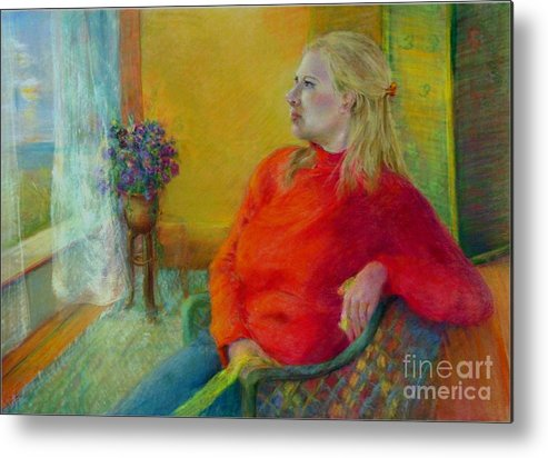 Portrait Metal Print featuring the painting Woman In Red   Copyrighted by Kathleen Hoekstra