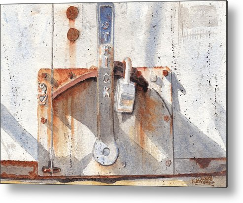 Semi Metal Print featuring the painting Work Trailer Lock Number One by Ken Powers