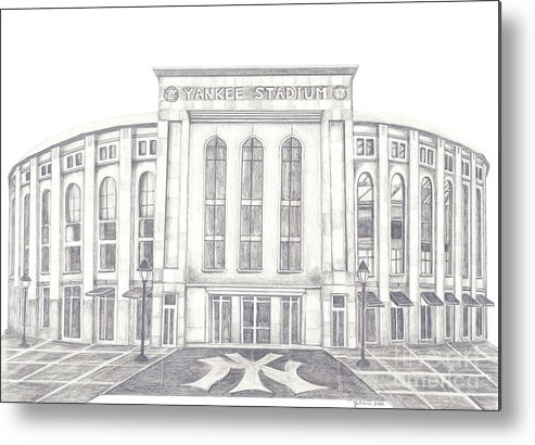 Yankee Stadium Metal Print featuring the drawing Yankee Stadium by Juliana Dube