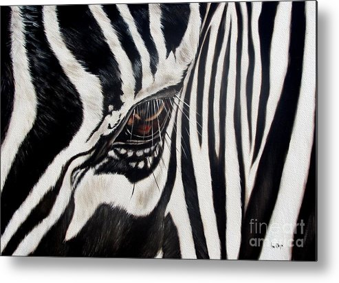 Zebra Metal Print featuring the painting Zebra Eye by Ilse Kleyn