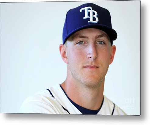 People Metal Print featuring the photograph Tampa Bay Rays Photo Day by Mike Ehrmann