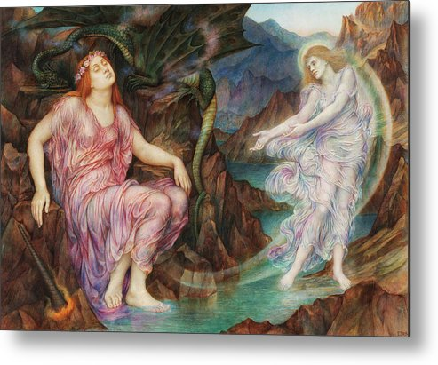 Evelyn De Morgan Metal Print featuring the painting The Passing Of The Soul At Death, 1919 by Evelyn De Morgan