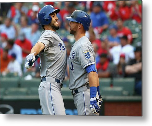Second Inning Metal Print featuring the photograph Eric Hosmer And Alex Gordon by Ronald Martinez