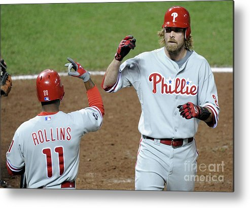 Playoffs Metal Print featuring the photograph Jimmy Rollins And Jayson Werth by Harry How