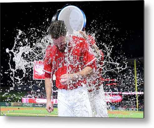 Three Quarter Length Metal Print featuring the photograph Mike Trout by Jayne Kamin-oncea