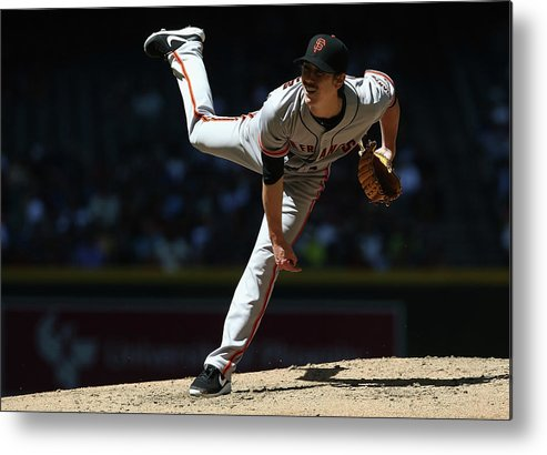 Tim Lincecum Metal Print featuring the photograph Tim Lincecum by Christian Petersen