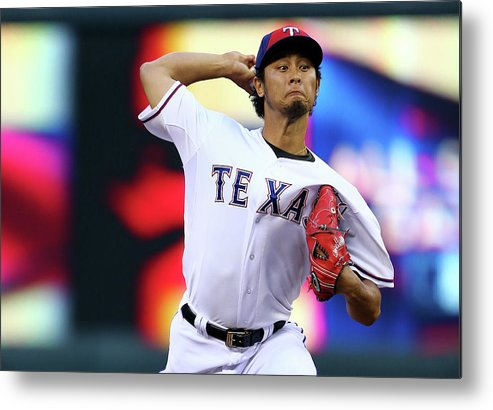 American League Baseball Metal Print featuring the photograph Yu Darvish by Elsa