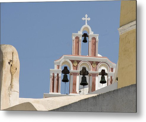Greece Metal Print featuring the photograph Bells Of Santorini by Charles Ridgway