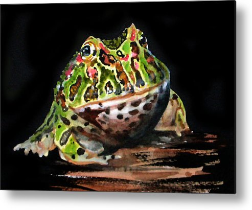 Bells Horned Frog Metal Print featuring the painting Puffy by Gina Hall