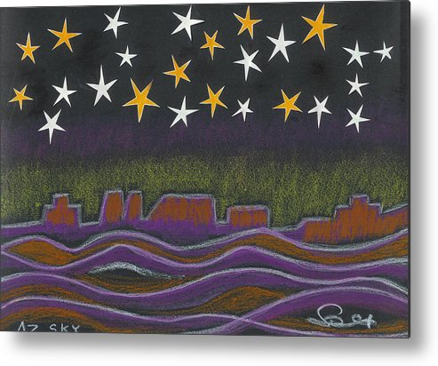 Sky Metal Print featuring the drawing Twighlight Over Arizona Horizon by Ingrid Szabo