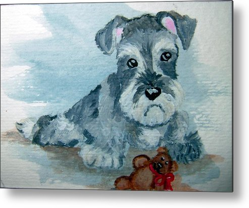 Schnauzer Metal Print featuring the painting Me And My Teddy by Tammy Brown