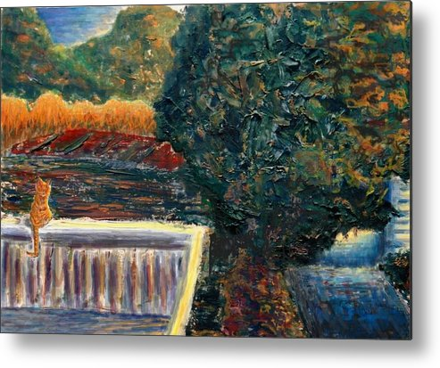 Oil Metal Print featuring the painting Last Rays by Cynthia Ann Swan