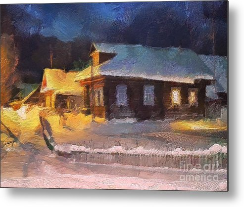 Winter Metal Print featuring the painting Winter Evening by Irina Hays