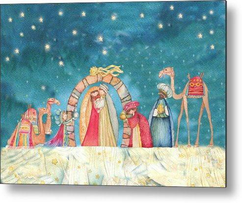 Birth Metal Print featuring the painting Christmas Nativity Scene by Vita Masi
