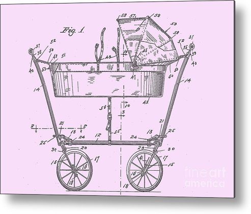 1922 Metal Print featuring the digital art 1922 Baby Carriage Patent Art Pink by Lesa Fine