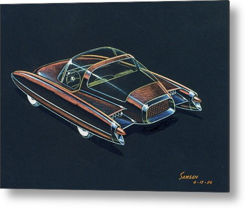 Car Concepts Metal Print featuring the drawing 1954 Ford Cougar Experimental Car Concept Design Concept Sketch by John Samsen