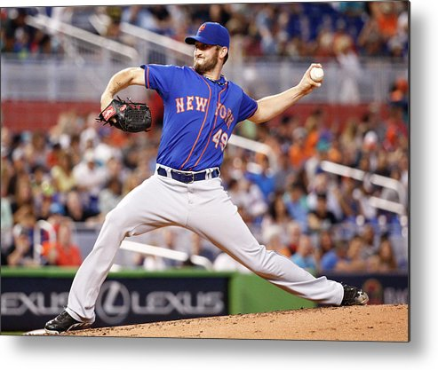 Second Inning Metal Print featuring the photograph New York Mets V Miami Marlins by Rob Foldy