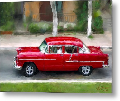 Cuba Metal Print featuring the photograph Red Bel Air by Juan Carlos Ferro Duque