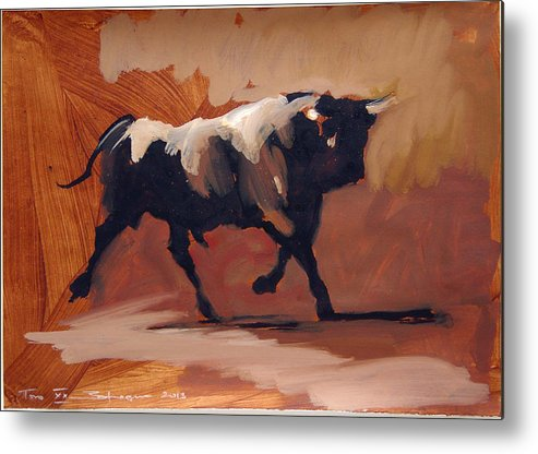 Bull Brown Metal Print featuring the painting Toro Study by Zil Hoque