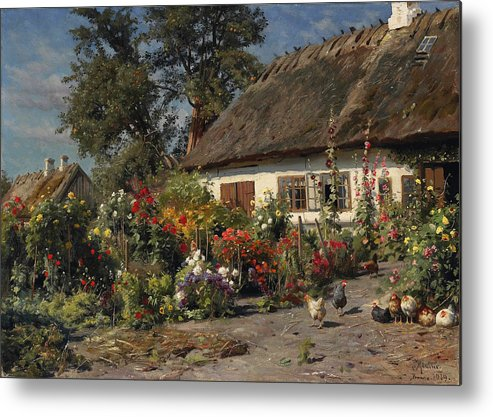 Peder Mork Monsted Metal Print featuring the painting A Cottage Garden With Chickens by Peder Mork Monsted