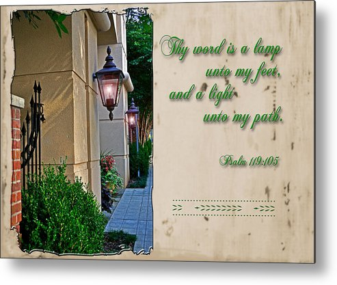 Scripture Metal Print featuring the photograph A Light Unto My Path by Larry Bishop