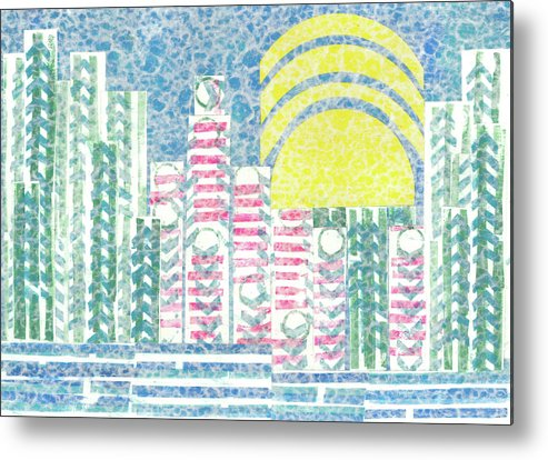 Cities Metal Print featuring the mixed media Cloud City by Strangefire Art    Scylla Liscombe