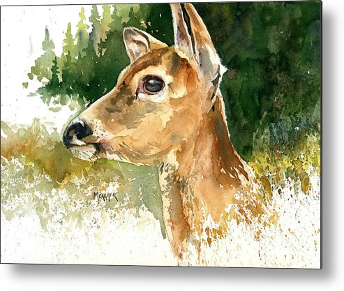 Whitetail Metal Print featuring the painting Alert by Spencer Meagher