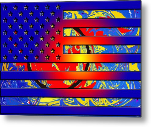 American Flags Metal Print featuring the painting And The Flag Still Stands by Robert Margetts