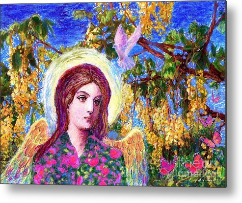 Angel Metal Print featuring the painting Angel Love by Jane Small