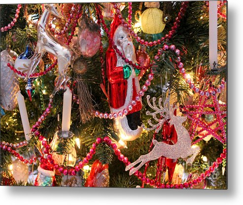 christmas metal print featuring the photograph antique victorian christmas tree decorations christmas card by adam long