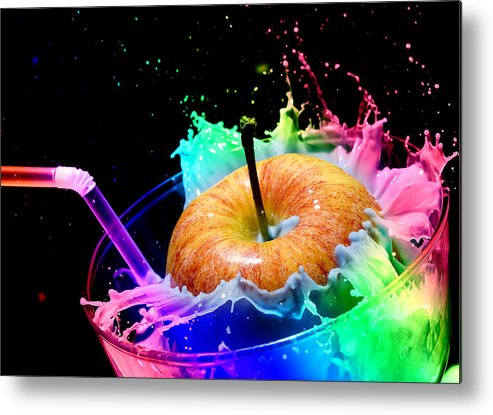Milk Metal Print featuring the photograph Apple Splash by John Sprague