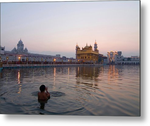Golden Temple Metal Print featuring the photograph At Dawn by Devinder Sangha