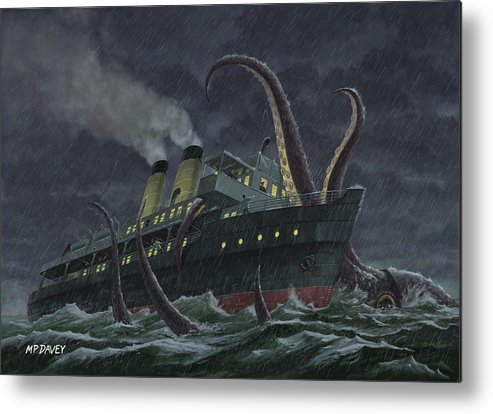 Squid Metal Print featuring the painting Attack Of Giant Squid by Martin Davey