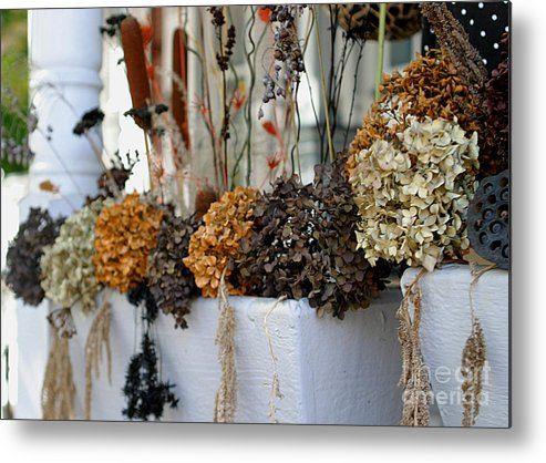 Autumn Metal Print featuring the photograph Autumn Flower Box by Living Color Photography Lorraine Lynch