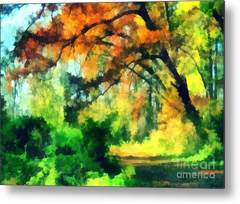 Odon Metal Print featuring the painting Autumn In The Woods by Odon Czintos