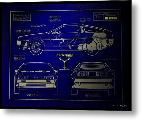 Delorean Metal Print featuring the photograph Back To The Future Delorean Blueprint 2 by Tommy Anderson