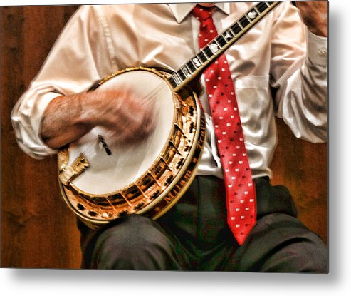 Music Metal Print featuring the photograph Banjo Singing Music by Linda Phelps
