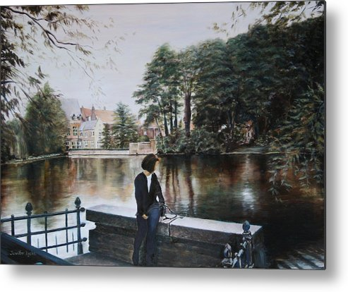 Water Metal Print featuring the painting Belgium Reflections In Water by Jennifer Lycke