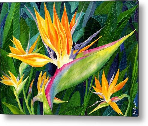 Flower Paintings Metal Print featuring the painting Bird-of-paradise by Janis Grau