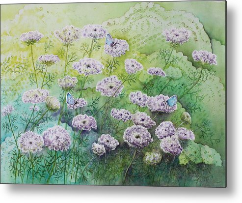 Butterflies Metal Print featuring the painting Blue Butterflies by Patsy Sharpe