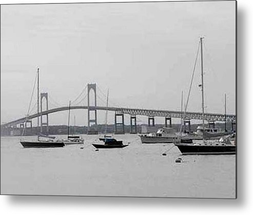 Black And White Metal Print featuring the photograph Bridge In Newport by Catherine Ratliff