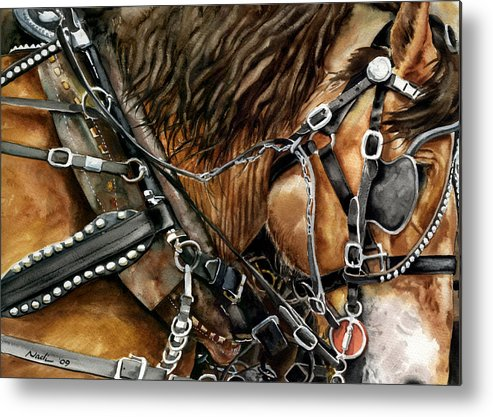 Horse Metal Print featuring the painting Buckskin by Nadi Spencer